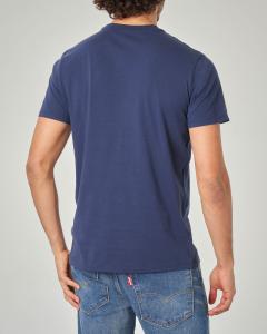T-shirt blu con logo batwing rosso