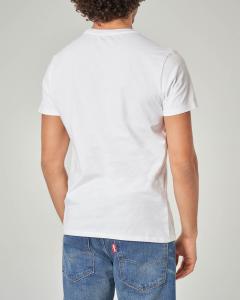 T-shirt bianca con stampa fotografica e logo
