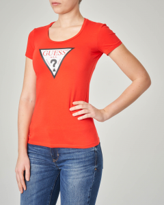 T-shirt rossa aderente maniche corte con logo