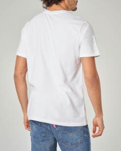 T-shirt bianca con fascia rossa logata