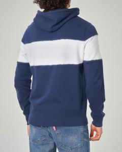 Felpa blu con cappuccio con fascia bianca