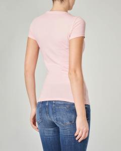 T-shirt rosa aderente maniche corte con logo