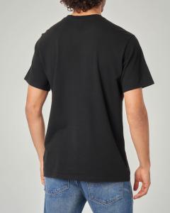 T-shirt nera con fascia rossa logata