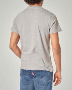 T-shirt grigio melange con logo batwing rosso