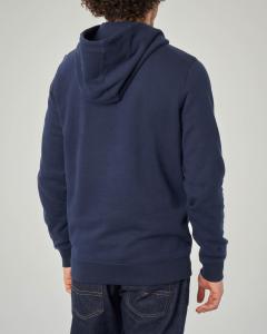 Felpa blu con cappuccio e logo stampato