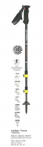 GABEL Adjustable Nordic walking poles CARBON FORCE FAST LOCK Yellow Black