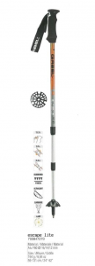 GABEL Adjustable Nordic walking sticks ESCAPE LITE LADY orange silver