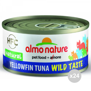 ALMO NATURE Set 24 Can Yellowfin Tuna Cat Food 70Gr Wild Taste