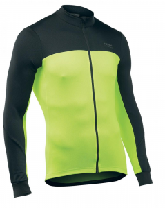 NORTHWAVE Man cycling jersey long sleeves full zip FORCE 2 black/yellow fluo