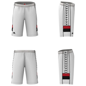 Pantaloncino con tasche laterali e stampe loghi