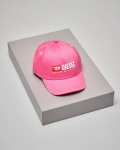 Berretto rosa con frontino e logo vintage
