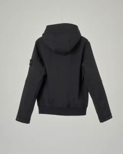 Giacca nera in Soft Shell con cappuccio 10-14 anni