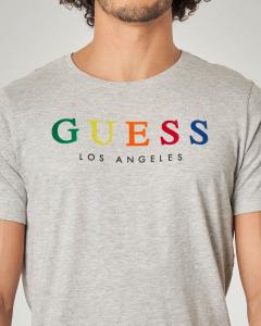 T-shirt grigia con logo multicolor