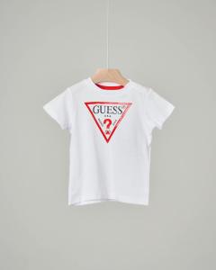 T-shirt bianca con maxi-logo triangolo