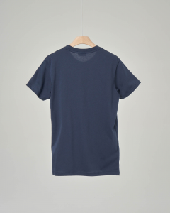 T-shirt blu con logo vintage