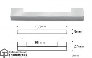 Maniglia per mobili cromo satinata