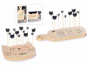 Set aperitivo in legno con minitagliere e stuzzicadenti gattosi (513758)