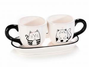 Set da caffè con vassoio con disegnati gattini (713726)