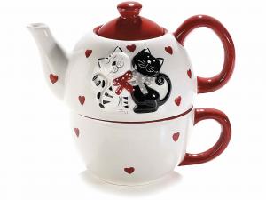 Set teiera con tazza in ceramica con gattini innamorati (713697)