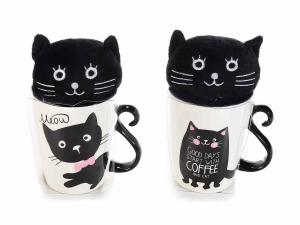 Tazza mug con diseganto un gattino e un peluche gattoso (720528)
