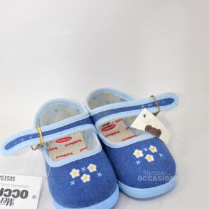 Scarpette Bambino Azzurra Fiori Bianchi N. 20