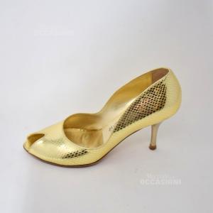 Scarpe Tacco Donna Oro Ecfet N. 37
