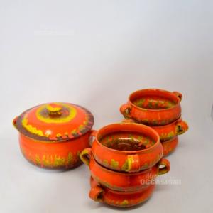 Servizio Zuppiera + 6 Ciotole In Terracotta Dipinta Arancione