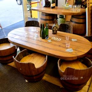Set Completo In Legno Tavolo + Piano Bar Fatto Con Botti