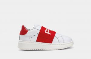 Scarpe bianche con lacci e fascia rossa