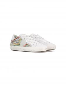 Scarpe bianche con paillettes multicolore