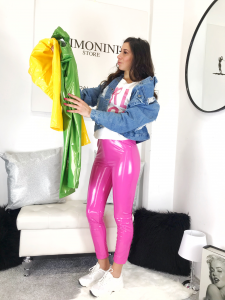 LEGGINS IN LATEX CON ELASTICO IN VITA  ROSA VERDE GIALLO NERO  TG S/M M/L