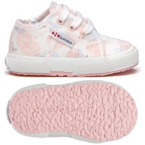 Scarpe bianche con stampe rosa e azzurre