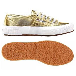 Scarpe oro in tela con effetto metallizzato