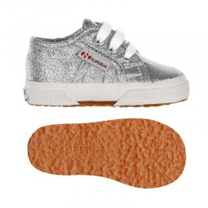 Scarpe argento in lamé con lacci e suola in gomma