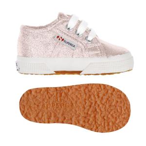 Scarpe rosa in lamé con lacci e suola in gomma