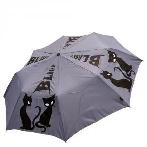 H.DUE.O - Black cat - Ombrello corto automatico antivento azzurro con stampa gatto cod. H214