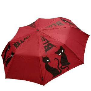 H.DUE.O - Black cat - Ombrello corto automatico antivento rosso con stampa gatto cod. H214