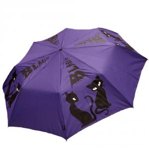 H.DUE.O - Black cat - Ombrello corto automatico antivento viola con stampa gatto cod. H214