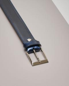 Cintura blu da cerimonia in vernice lucida