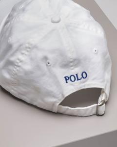 Berretto bianco con fontino e logo