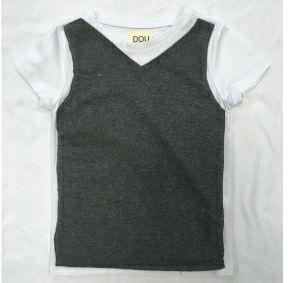 T-Shirt antracite con maniche bianche