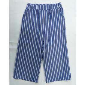 Pantalone blu a righe bianche con vita elasticizzata