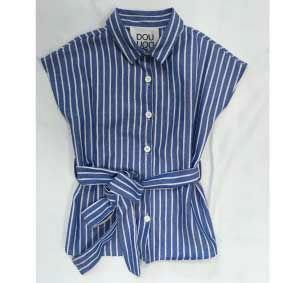 Camicia blu a righe bianche