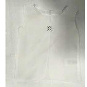 Camicia bianca smanicata con stampa logo nero