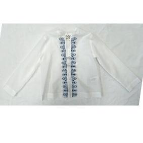 Camicia bianca con dettaglio lungo i bottoni