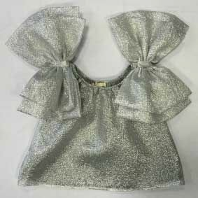 Camicia argento con fiocchi sulle spalline