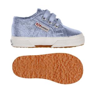 Scarpe blu in lamé con lacci e suola in gomma