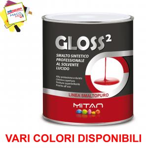 Mitan Gloss2 smalto al solvente lucido colore grigio cenere 0,75lt per legno,ferro,metalli