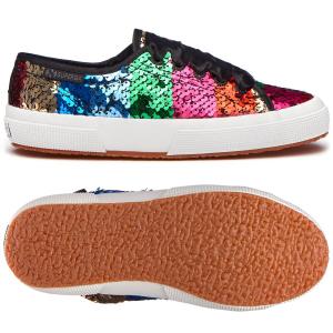 Scarpe con lacci e paillettes multicolore