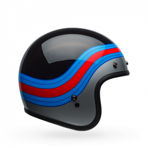 CASCO MOTO JET BELL CUSTOM DLX 500 PULSE GLOSS BLACK BLUE RED
